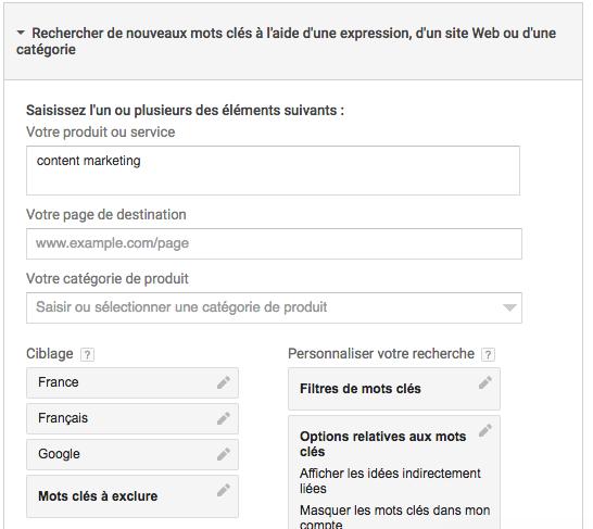 Trouvez les mots-clés pour votre niche - Google Adwords Planner