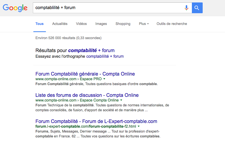Google - Mot-clé + Forum