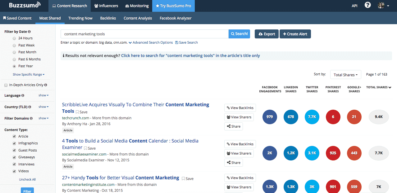 Buzzsumo - Creer du content marketing
