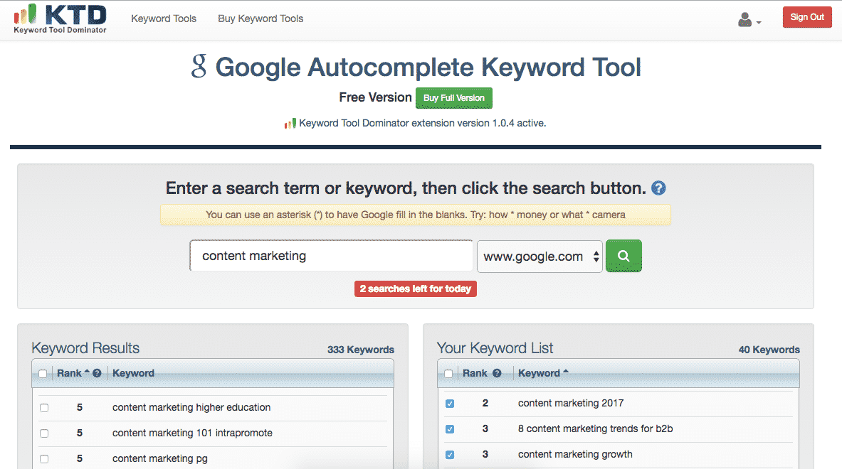 Content marketing Keyword Tool