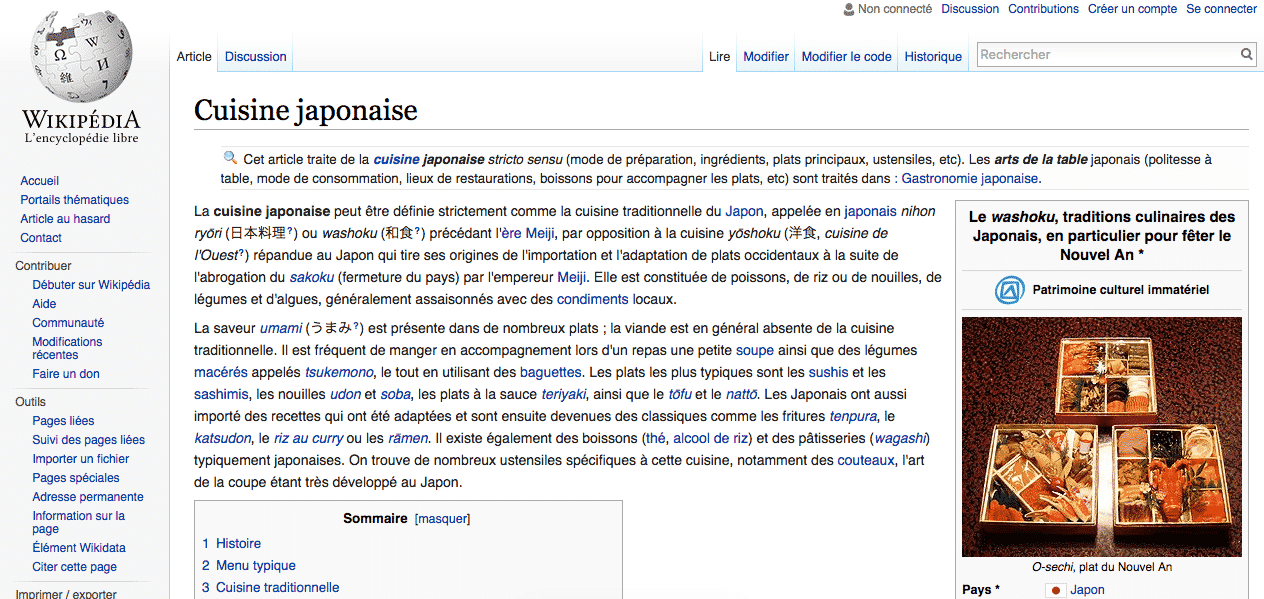 Wikipedia - Cuisine Japonaise - Content Marketing