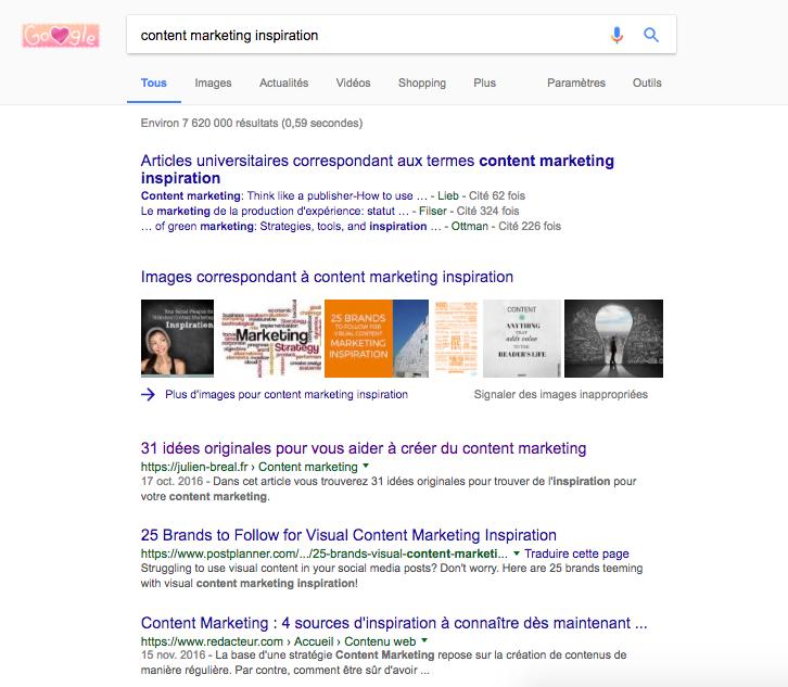 Content marketing inspiration - Recherche Google
