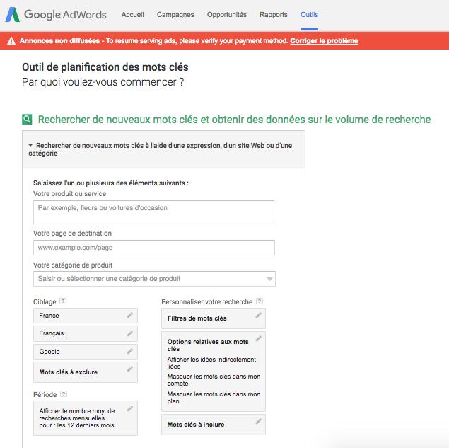 Google Keyword Planner Outil