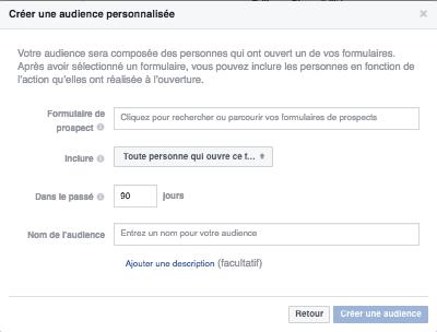 Pub à formulaire Facebook