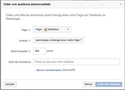 Créer une audience personnalisée Facebook - Page