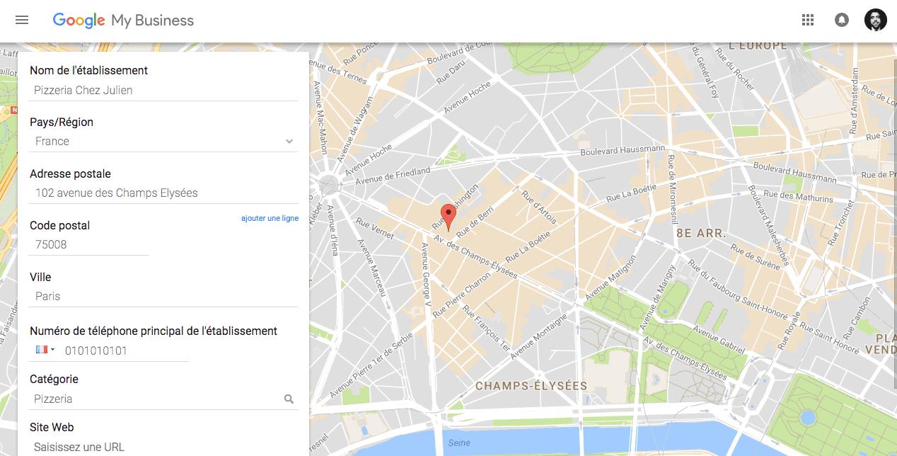 Page entreprise avec Google My Business