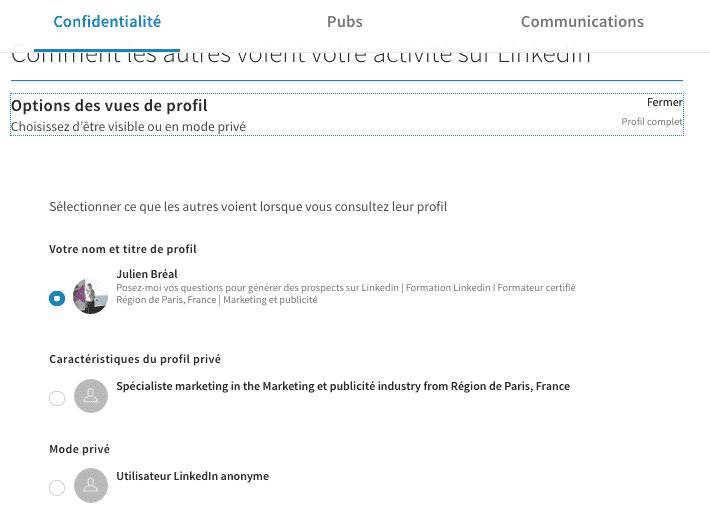 Être incognito sur Linkedin