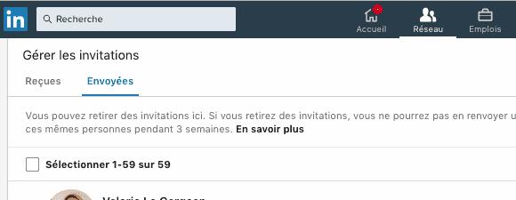 Voir les invitations envoyées sur Linkedin
