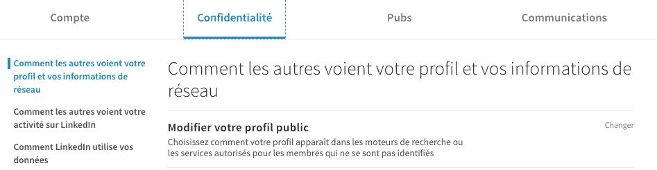 Modifier la visibilité de votre profil public