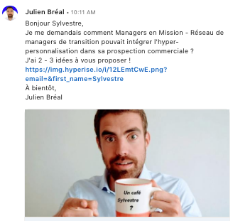 Exemple message prospectin Linkedin