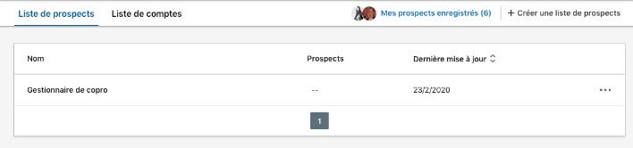 Créer liste de prospects - Sales Navigator
