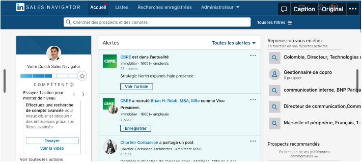 Page accueil Sales Navigator