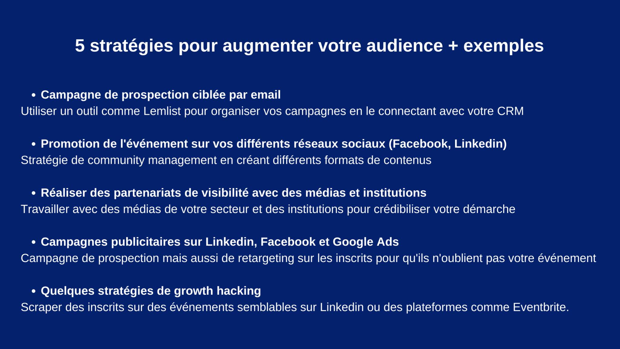 5 stratégies pour augmenter votre audience + exemples